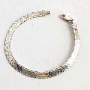 Vintage Herringbone Bracelet Sterling Silver 925